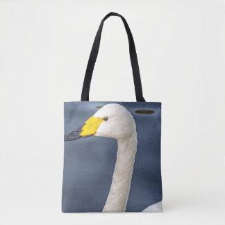 Yellow beaked swan all-over-print tote bag