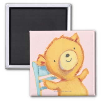 Yellow Bear Dances and Plays on Chair 2 Inch Square Magnet