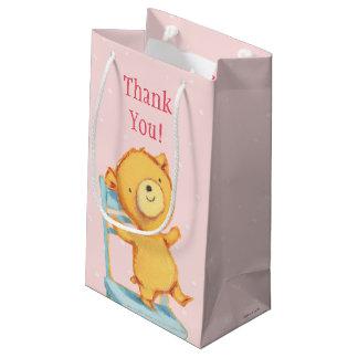 Yellow Bear Dances and Plays on Chair Small Gift Bag