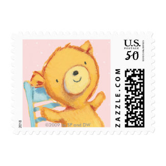 Yellow Bear Dances and Plays on Chair Postage