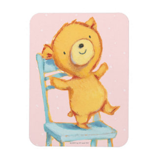 Yellow Bear Dances and Plays on Chair Rectangular Photo Magnet