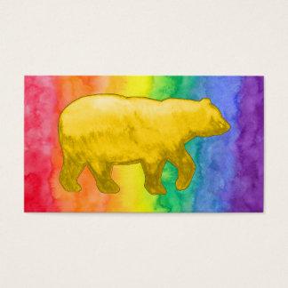 Yellow Bear on Rainbow Wash Business Card