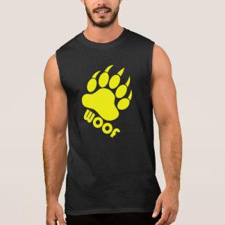 "Yellow Bear Paw ""Woof"" Sleeveless T Sleeveless Tees"