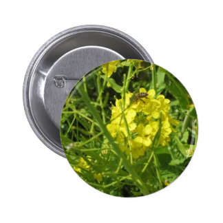 yellow bee 2 inch round button
