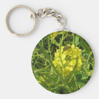 yellow bee basic round button keychain