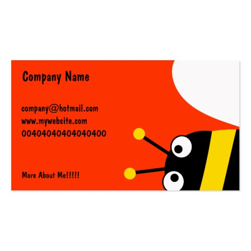 Yellow bee business card zazzle for Bee business cards