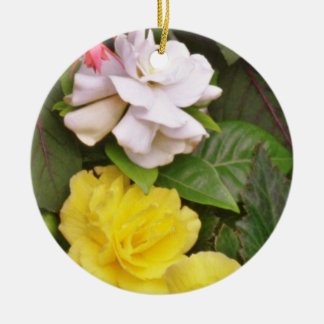 Yellow Begonias And Red White Flowers flowers Christmas Ornaments