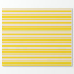 [ Thumbnail: Yellow & Beige Colored Lines Pattern Wrapping Paper ]