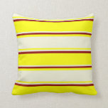 [ Thumbnail: Yellow, Beige & Dark Red Colored Pattern Pillow ]