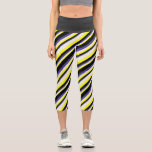 [ Thumbnail: Yellow, Beige, Dark Slate Blue & Black Lines Leggings ]