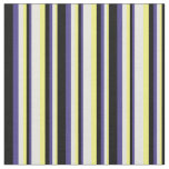 [ Thumbnail: Yellow, Beige, Dark Slate Blue & Black Lines Fabric ]