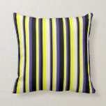 [ Thumbnail: Yellow, Beige, Dark Slate Blue & Black Lines Throw Pillow ]