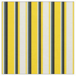 [ Thumbnail: Yellow, Beige, Dark Slate Gray & Black Lines Fabric ]