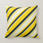 [ Thumbnail: Yellow, Beige, Dark Slate Gray & Black Lines Throw Pillow ]