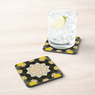 Yellow & Beige Floral Print Coaster Set