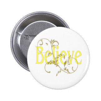 Yellow Believe with Tan Flourish 2 Inch Round Button