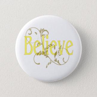 Yellow Believe with Tan Flourish Pinback Button