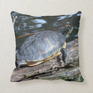yellow belly slider sunning self on log throw pillow