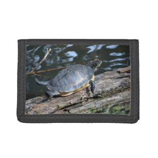 yellow belly slider sunning self on log tri-fold wallet