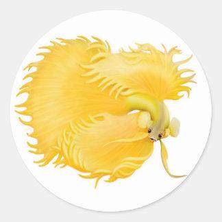 Yellow Betta Fighting Fish Sticker