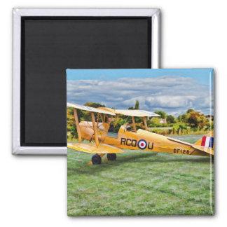 Yellow Bi Plane 2 Inch Square Magnet