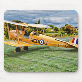 Yellow Bi Plane Mouse Pad