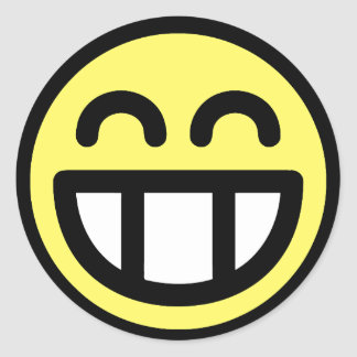 Yellow Big Grin Smiley Face Classic Round Sticker