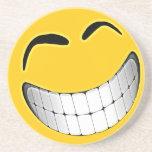 Yellow Big Grin Smiley Face Coaster