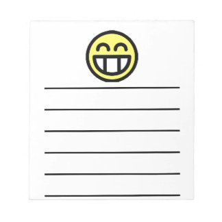 Yellow Big Grin Smiley Face Notepad