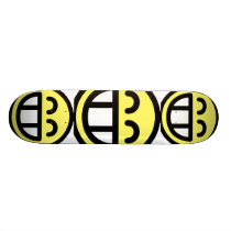 Yellow Big Grin Smiley Face Skateboard Deck