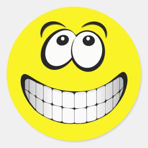 Yellow Big Grin Smiley Face Classic Round Sticker   Zazzle