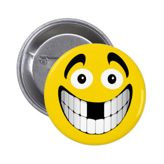 Yellow Big Grin Smiley with Missing Teeth Button