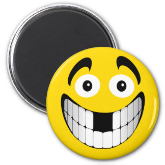 Yellow Big Grin Smiley with Missing Teeth Magnet