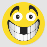 Yellow Big Grin Smiley with Missing Teeth Classic Round Sticker