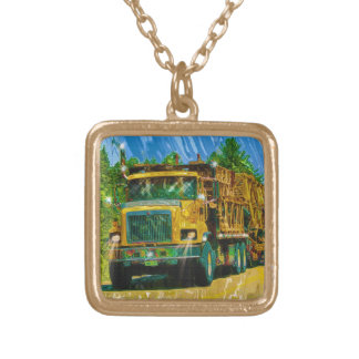 Yellow Big Rig Scaffolding Transporter Truck Gold Plated Necklace