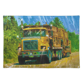 Yellow Big Rig Scaffolding Transporter Truck Place Mats