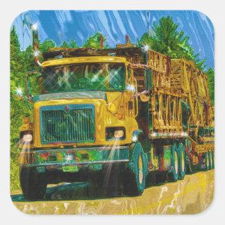 Yellow Big Rig Scaffolding Transporter Truck Square Sticker