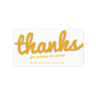 Yellow Big Sketch Twins Thank You Birthday Party Address Label