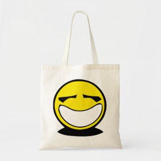 Yellow big smiley smile tote bag