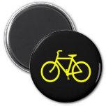 Yellow  Bike 2 Inch Round Magnet