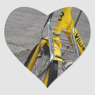 Yellow Bike Amsterdam, Holland Heart Sticker