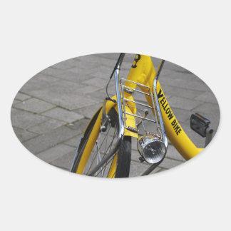 Yellow Bike Amsterdam, Holland Oval Sticker