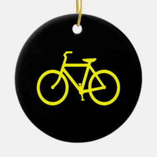 Yellow  Bike Double-Sided Ceramic Round Christmas Ornament