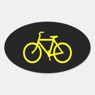 Yellow  Bike Oval Sticker