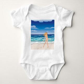 Yellow bikini girl on beach baby bodysuit