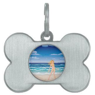 Yellow bikini girl on beach pet ID tag