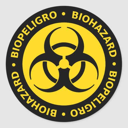 Yellow bilingual biohazard warning classic round sticker