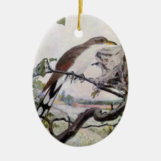 Yellow-billed Cuckoo and Tent Caterpillars Ceramic Ornament