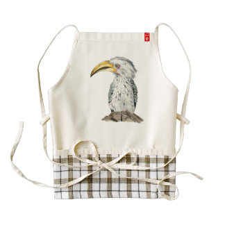 Yellow-Billed Hornbill Watercolor Painting Zazzle HEART Apron