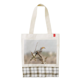 Yellow billed hornbill zazzle HEART tote bag